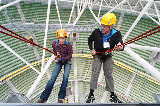 The DARE - Dublin Adventure Race - Pat Falvey and Clare O'Leary abseil in the Aviva stadium